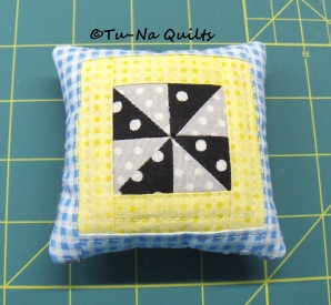 "Pillow Pincushion front. 3.5"" square."