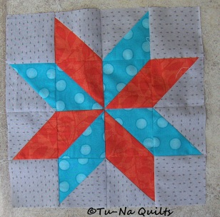 Blue-green (teal) with Red-orange